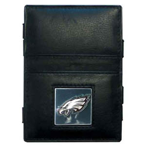 Philadelphia Eagles Leather Jacob's Ladder Wallet - This innovative jacob's ladder wallet design traps cash with just a simple flip of the wallet! There are also outer pockets to store your ID and credit cards. The wallet is made of fine quality leather with an enameled Philadelphia Eagles team emblem. Officially licensed NFL product Licensee: Siskiyou Buckle .com