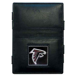 Atlanta Falcons Leather Jacob's Ladder Wallet - This innovative jacob's ladder wallet design traps cash with just a simple flip of the wallet! There are also outer pockets to store your ID and credit cards. The wallet is made of fine quality leather with an enameled Atlanta Falcons team emblem. Officially licensed NFL product Licensee: Siskiyou Buckle .com