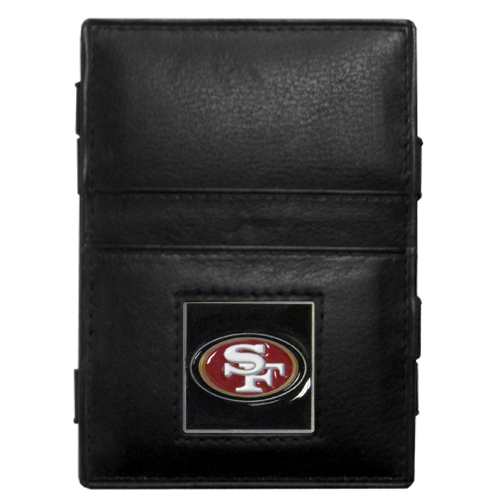 San Francisco 49ers Leather Jacob's Ladder Wallet - This innovative jacob's ladder wallet design traps cash with just a simple flip of the wallet! There are also outer pockets to store your ID and credit cards. The wallet is made of fine quality leather with an enameled San Francisco 49ers team emblem. Officially licensed NFL product Licensee: Siskiyou Buckle .com