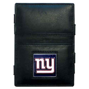 New York Giants Leather Jacob's Ladder Wallet - This innovative jacob's ladder wallet design traps cash with just a simple flip of the wallet! There are also outer pockets to store your ID and credit cards. The wallet is made of fine quality leather with an enameled New York Giants team emblem. Officially licensed NFL product Licensee: Siskiyou Buckle .com