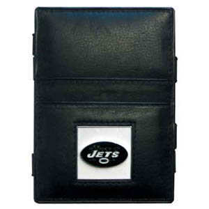 New York Jets Leather Jacob's Ladder Wallet - This innovative jacob's ladder wallet design traps cash with just a simple flip of the wallet! There are also outer pockets to store your ID and credit cards. The wallet is made of fine quality leather with an enameled New York Jets team emblem. Officially licensed NFL product Licensee: Siskiyou Buckle Thank you for visiting CrazedOutSports.com