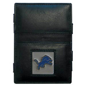 Detroit Lions Leather Jacob's Ladder Wallet - This innovative jacob's ladder wallet design traps cash with just a simple flip of the wallet! There are also outer pockets to store your ID and credit cards. The wallet is made of fine quality leather with an enameled Detroit Lions team emblem. Officially licensed NFL product Licensee: Siskiyou Buckle .com