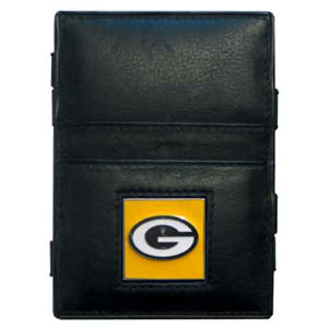 Green Bay Packers Leather Jacob's Ladder Wallet - This innovative jacob's ladder wallet design traps cash with just a simple flip of the wallet! There are also outer pockets to store your ID and credit cards. The wallet is made of fine quality leather with an enameled Green Bay Packers team emblem. Officially licensed NFL product Licensee: Siskiyou Buckle .com