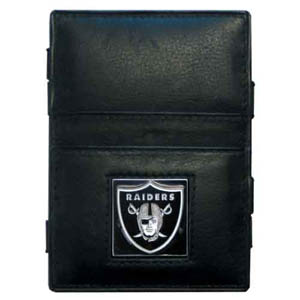 Oakland Raiders Leather Jacob's Ladder Wallet - This innovative jacob's ladder wallet design traps cash with just a simple flip of the wallet! There are also outer pockets to store your ID and credit cards. The wallet is made of fine quality leather with an enameled Oakland Raiders team emblem. Officially licensed NFL product Licensee: Siskiyou Buckle Thank you for visiting CrazedOutSports.com