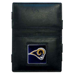 Los Angeles Rams Leather Jacob's Ladder Wallet - This innovative jacob's ladder wallet design traps cash with just a simple flip of the wallet! There are also outer pockets to store your ID and credit cards. The wallet is made of fine quality leather with an enameled Los Angeles Rams team emblem. Officially licensed NFL product Licensee: Siskiyou Buckle .com