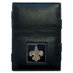 New Orleans Saints Leather Jacob's Ladder Wallet - This innovative jacob's ladder wallet design traps cash with just a simple flip of the wallet! There are also outer pockets to store your ID and credit cards. The wallet is made of fine quality leather with an New Orleans Saints enameled team emblem. Officially licensed NFL product Licensee: Siskiyou Buckle .com