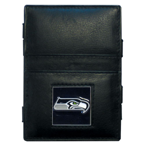 Seattle Seahawks Leather Jacob's Ladder Wallet - This innovative jacob's ladder wallet design traps cash with just a simple flip of the wallet! There are also outer pockets to store your ID and credit cards. The wallet is made of fine quality leather with an enameled Seattle Seahawks team emblem. Officially licensed NFL product Licensee: Siskiyou Buckle .com