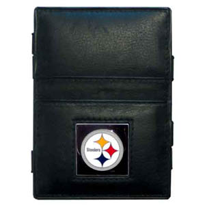 Pittsburgh Steelers Leather Jacob's Ladder Wallet - This innovative jacob's ladder wallet design traps cash with just a simple flip of the wallet! There are also outer pockets to store your ID and credit cards. The wallet is made of fine quality leather with an enameled Pittsburgh Steelers team emblem. Officially licensed NFL product Licensee: Siskiyou Buckle .com