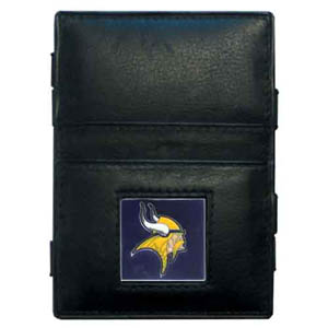 Minnesota Vikings Leather Jacob's Ladder Wallet - This innovative jacob's ladder wallet design traps cash with just a simple flip of the wallet! There are also outer pockets to store your ID and credit cards. The wallet is made of fine quality leather with an enameled Minnesota Vikings team emblem. Officially licensed NFL product Licensee: Siskiyou Buckle .com
