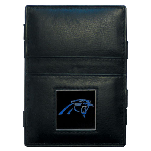 Carolina Panthers Leather Jacob's Ladder Wallet - This innovative jacob's ladder wallet design traps cash with just a simple flip of the wallet! There are also outer pockets to store your ID and credit cards. The wallet is made of fine quality leather with an enameled Carolina Panthers team emblem. Officially licensed NFL product Licensee: Siskiyou Buckle .com