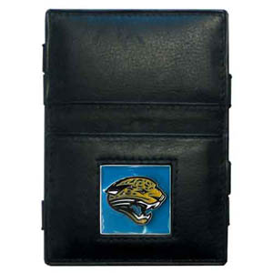 Jacksonville Jaguars Leather Jacob's Ladder Wallet - This innovative jacob's ladder wallet design traps cash with just a simple flip of the wallet! There are also outer pockets to store your ID and credit cards. The wallet is made of fine quality leather with an enameled Jacksonville Jaguars team emblem. Officially licensed NFL product Licensee: Siskiyou Buckle Thank you for visiting CrazedOutSports.com