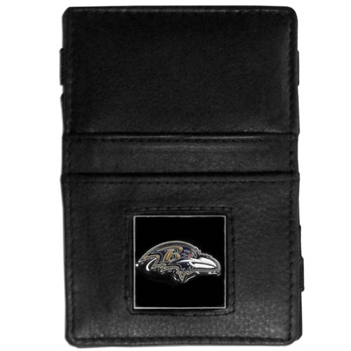 Baltimore Ravens Leather Jacob's Ladder Wallet - This innovative jacob's ladder wallet design traps cash with just a simple flip of the wallet! There are also outer pockets to store your ID and credit cards. The wallet is made of fine quality leather with an enameled Baltimore Ravens team emblem. Officially licensed NFL product Licensee: Siskiyou Buckle .com