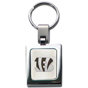 NFL Sq. Chrome Key Chain - Cincinnati Bengals - The NFL key chain features the team logo etched on a brushed steel square surrounded by a chrome key ring. Officially licensed NFL product Licensee: Siskiyou Buckle .com