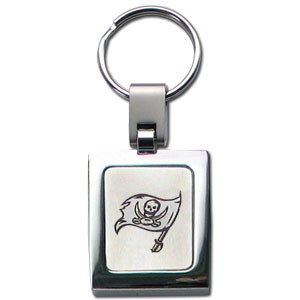 NFL Sq. Chrome Key Chain - Tampa Bay Buccaneers - The NFL key chain features the team logo etched on a brushed steel square surrounded by a chrome key ring. Officially licensed NFL product Licensee: Siskiyou Buckle .com