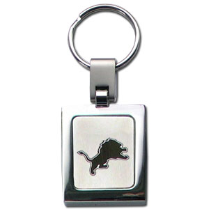 NFL Sq. Chrome Key Chain - Detroit Lions  - The NFL key chain features the team logo etched on a brushed steel square surrounded by a chrome key ring. Officially licensed NFL product Licensee: Siskiyou Buckle .com