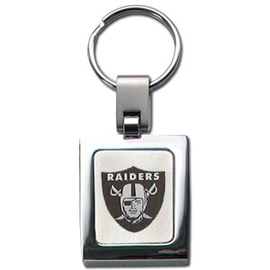 NFL Sq. Chrome Key Chain - Oakland Raiders - The NFL key chain features the team logo etched on a brushed steel square surrounded by a chrome key ring. Officially licensed NFL product Licensee: Siskiyou Buckle .com