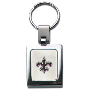 NFL Sq. Chrome Key Chain - New Orleans Saints - The NFL key chain features the team logo etched on a brushed steel square surrounded by a chrome key ring. Officially licensed NFL product Licensee: Siskiyou Buckle .com