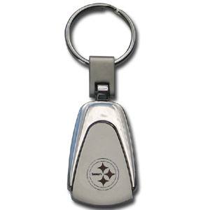 NFL Etched Key Chain - Pittsburgh Steelers - This key ring features a laser etched NFL team logo on brushed steel set in a chrome key ring. Check out our extensive line of  NFL merchandise! Officially licensed NFL product Licensee: Siskiyou Buckle .com