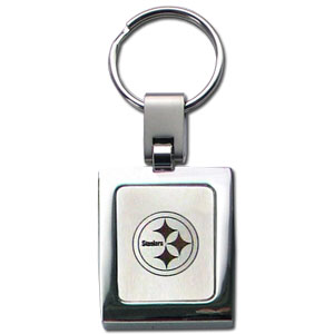 NFL Sq. Chrome Key Chain - Pittsburgh Steelers - The NFL key chain features the team logo etched on a brushed steel square surrounded by a chrome key ring. Officially licensed NFL product Licensee: Siskiyou Buckle .com