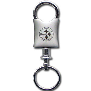 NFL Valet Key Chain - Pittsburgh Steelers - This NFL valet key chain features a laser etched logo on a brushed steel key chain. The key portion detaches for easy release of the keys. Officially licensed NFL product Licensee: Siskiyou Buckle .com