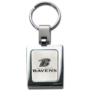 NFL Sq. Chrome Key Chain - Baltimore Ravens - The NFL key chain features the team logo etched on a brushed steel square surrounded by a chrome key ring. Officially licensed NFL product Licensee: Siskiyou Buckle .com