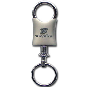 NFL Valet Key Chain - Baltimore Ravens - This NFL valet key chain features a laser etched logo on a brushed steel key chain. The key portion detaches for easy release of the keys. Officially licensed NFL product Licensee: Siskiyou Buckle .com