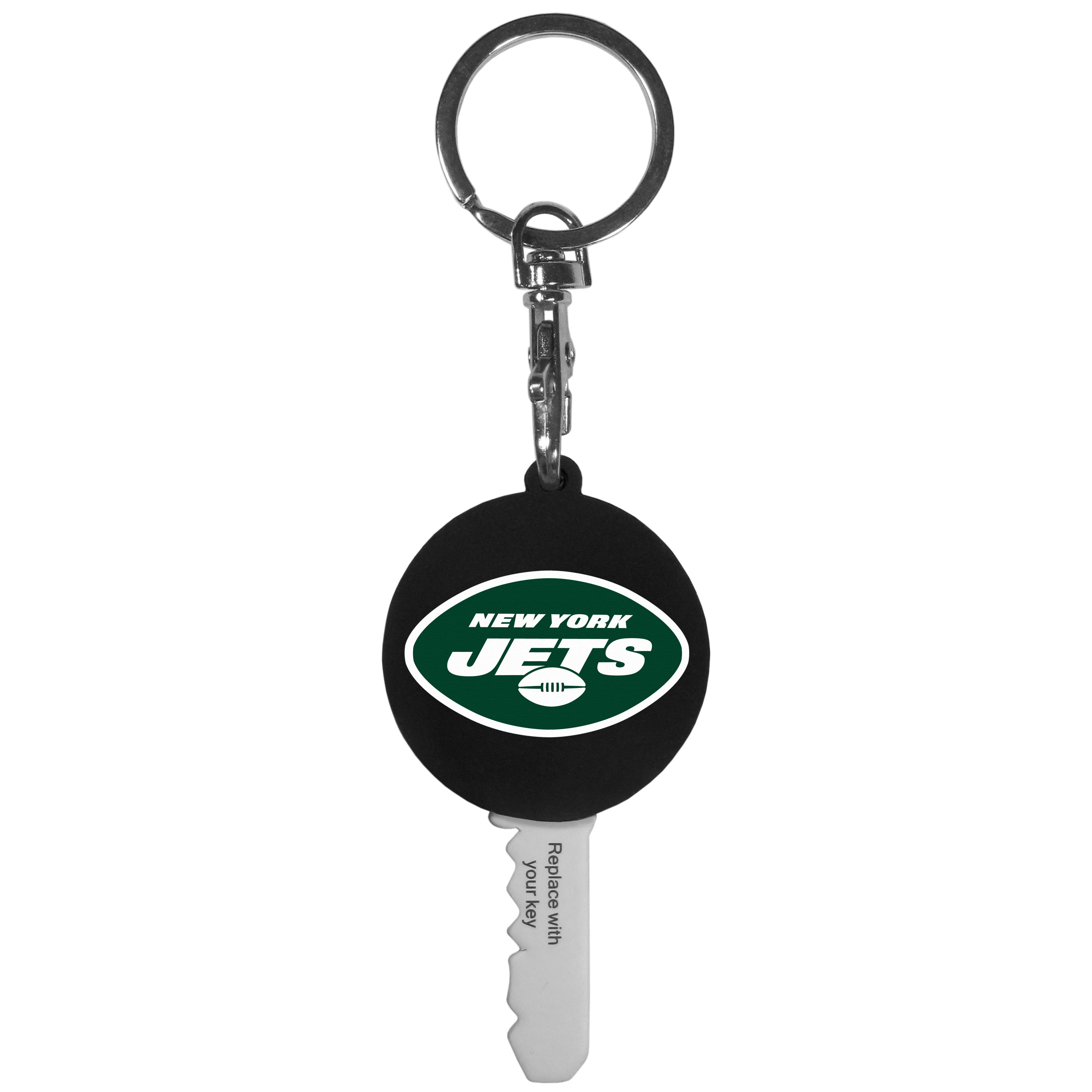 New York Jets Mini Light Key Topper - This super handy little key topper has a built in mini light that illuminates the lock so you do not have to fumble in the dark trying to open your door. You slide your house key into the top of the rubber key topper and your ready to go. The topper features a New York Jets logo on the front of the topper.
