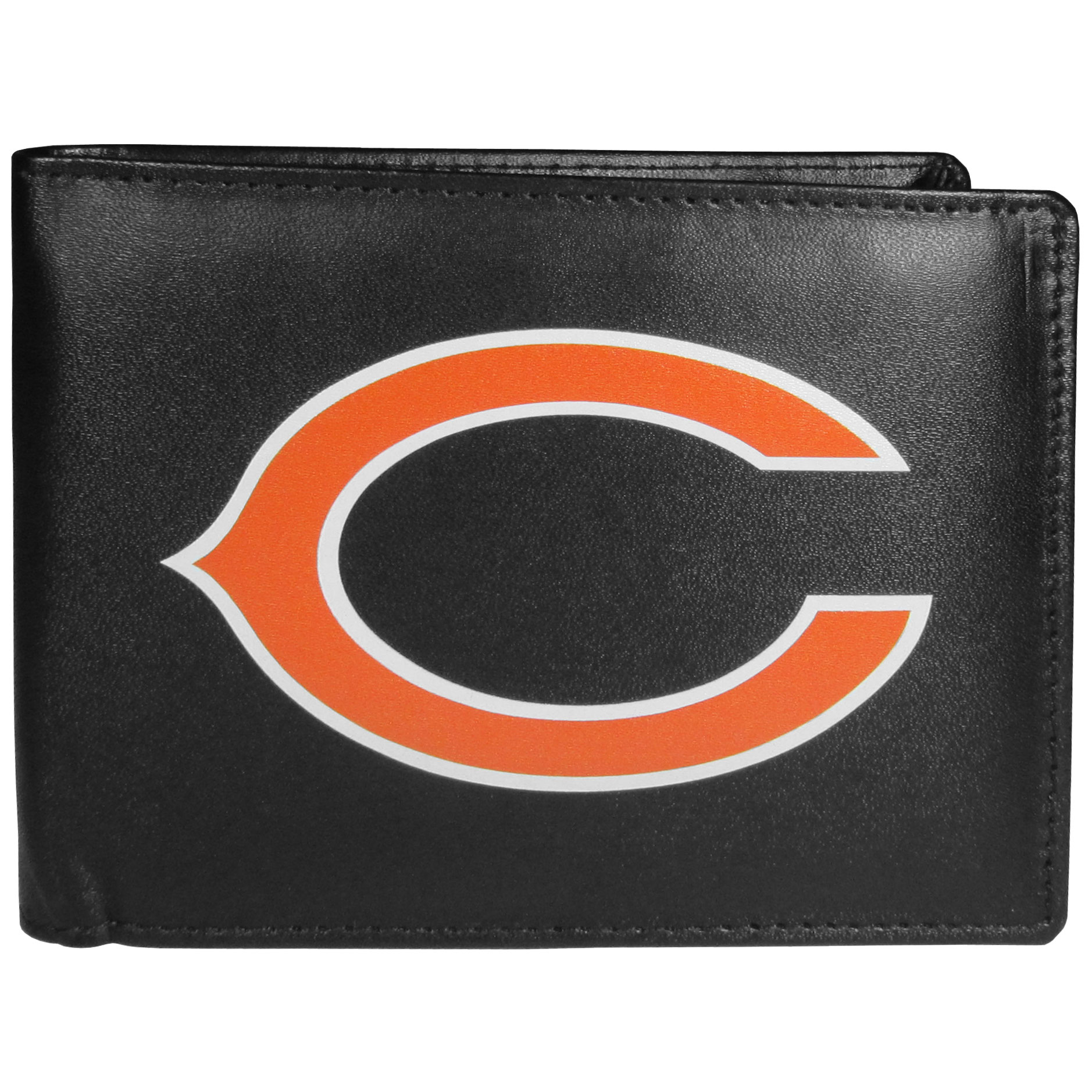 Chicago Bears Leather Bi-fold Wallet, Large Logo - Our classic fine leather bi-fold wallet is meticulously crafted with genuine leather that will age beautifully so you will have a quality wallet for years to come. The wallet opens to a large, billfold pocket and numerous credit card slots and has a convenient windowed ID slot. The front of the wallet features an extra large Chicago Bears printed logo.