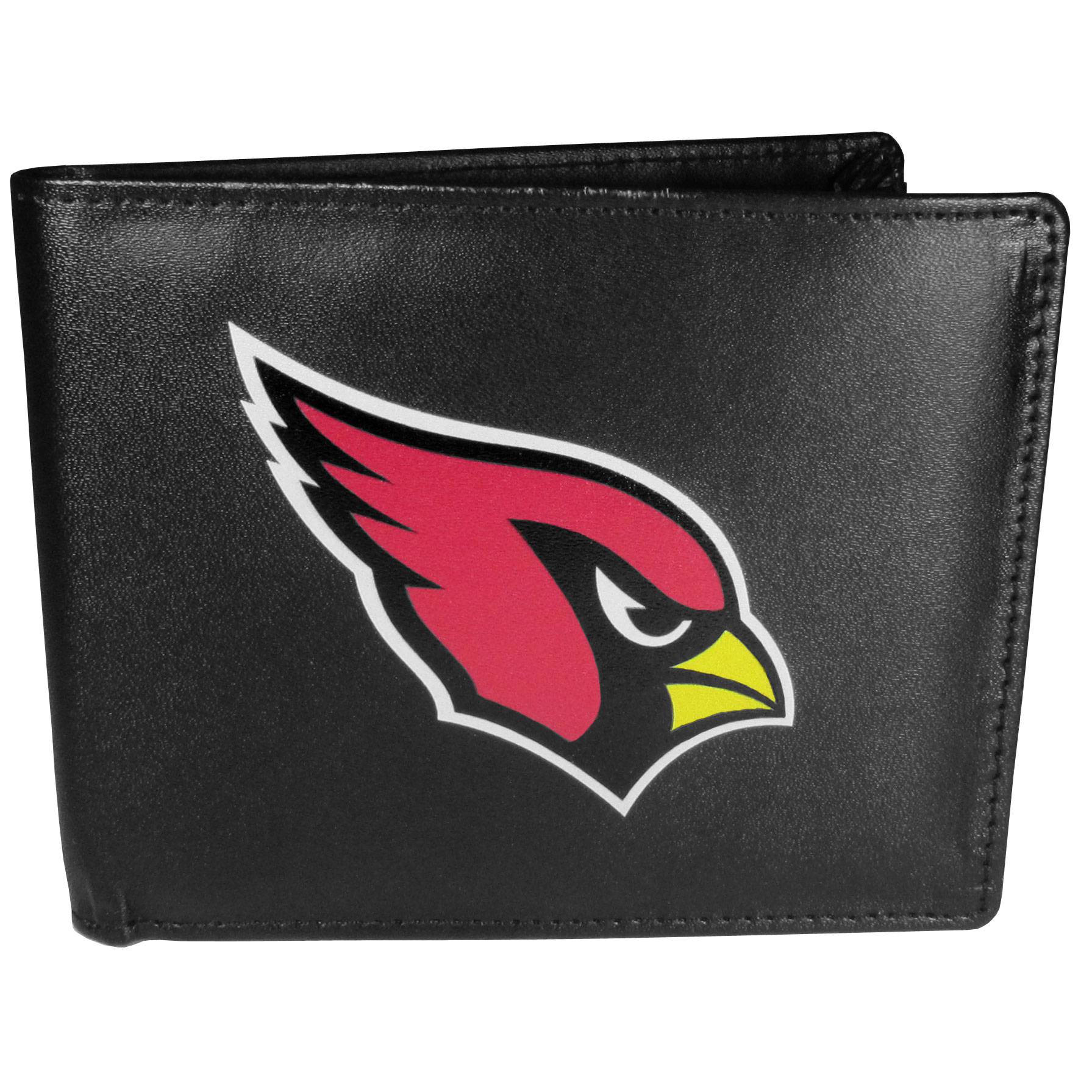 Arizona Cardinals Leather Bi-fold Wallet, Large Logo - Our classic fine leather bi-fold wallet is meticulously crafted with genuine leather that will age beautifully so you will have a quality wallet for years to come. The wallet opens to a large, billfold pocket and numerous credit card slots and has a convenient windowed ID slot. The front of the wallet features an extra large Arizona Cardinals printed logo.
