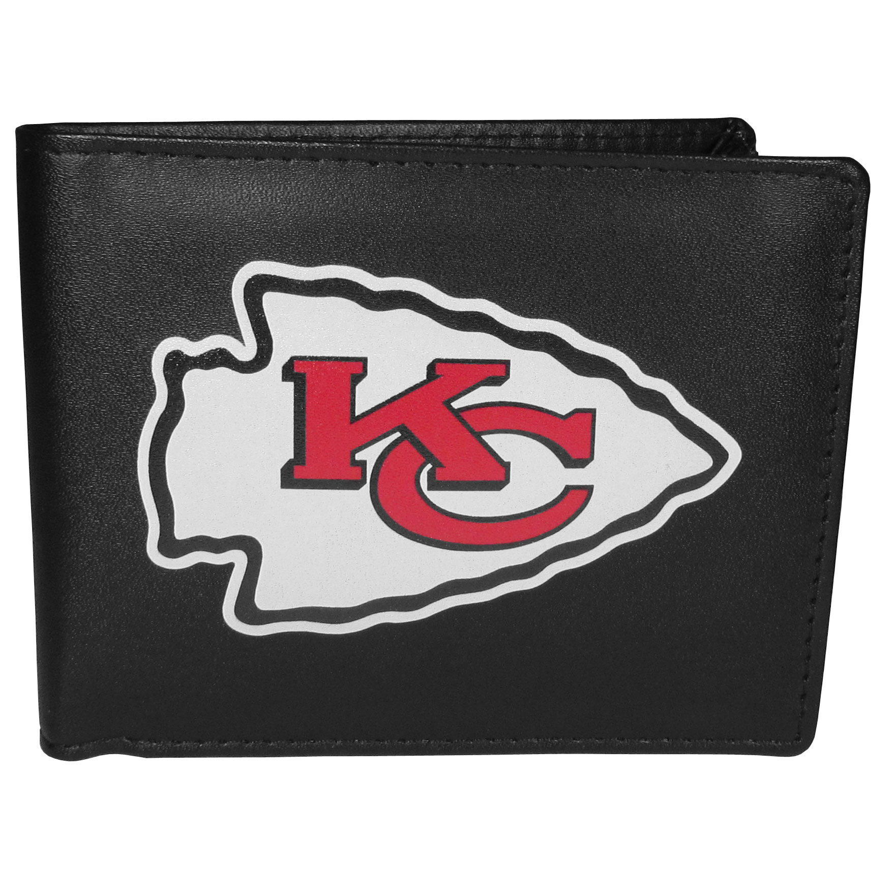 Kansas City Chiefs Leather Bi-fold Wallet, Large Logo - Our classic fine leather bi-fold wallet is meticulously crafted with genuine leather that will age beautifully so you will have a quality wallet for years to come. The wallet opens to a large, billfold pocket and numerous credit card slots and has a convenient windowed ID slot. The front of the wallet features an extra large Kansas City Chiefs printed logo.
