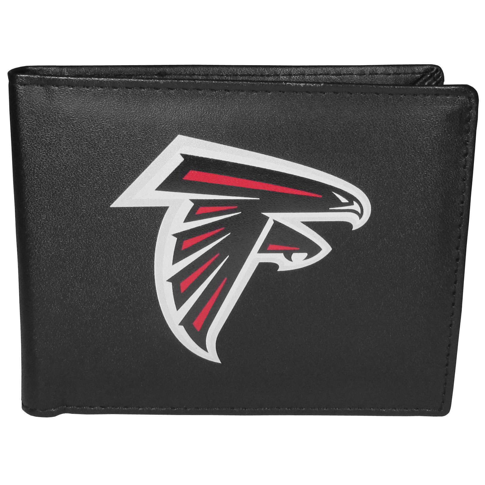Atlanta Falcons Leather Bi-fold Wallet, Large Logo - Our classic fine leather bi-fold wallet is meticulously crafted with genuine leather that will age beautifully so you will have a quality wallet for years to come. The wallet opens to a large, billfold pocket and numerous credit card slots and has a convenient windowed ID slot. The front of the wallet features an extra large Atlanta Falcons printed logo.