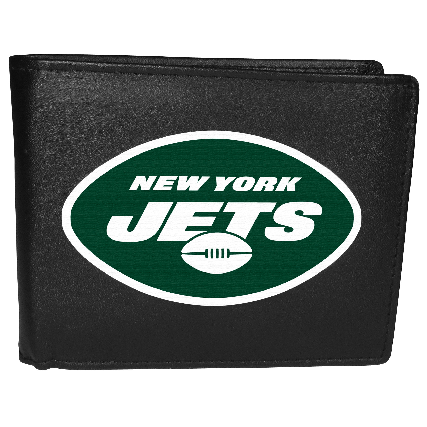 New York Jets Leather Bi-fold Wallet, Large Logo - Our classic fine leather bi-fold wallet is meticulously crafted with genuine leather that will age beautifully so you will have a quality wallet for years to come. The wallet opens to a large, billfold pocket and numerous credit card slots and has a convenient windowed ID slot. The front of the wallet features an extra large New York Jets printed logo.