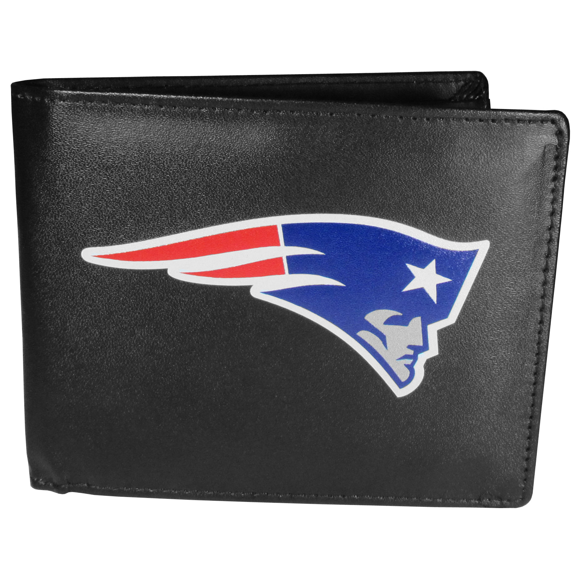 New England Patriots Leather Bi-fold Wallet, Large Logo - Our classic fine leather bi-fold wallet is meticulously crafted with genuine leather that will age beautifully so you will have a quality wallet for years to come. The wallet opens to a large, billfold pocket and numerous credit card slots and has a convenient windowed ID slot. The front of the wallet features an extra large New England Patriots printed logo.