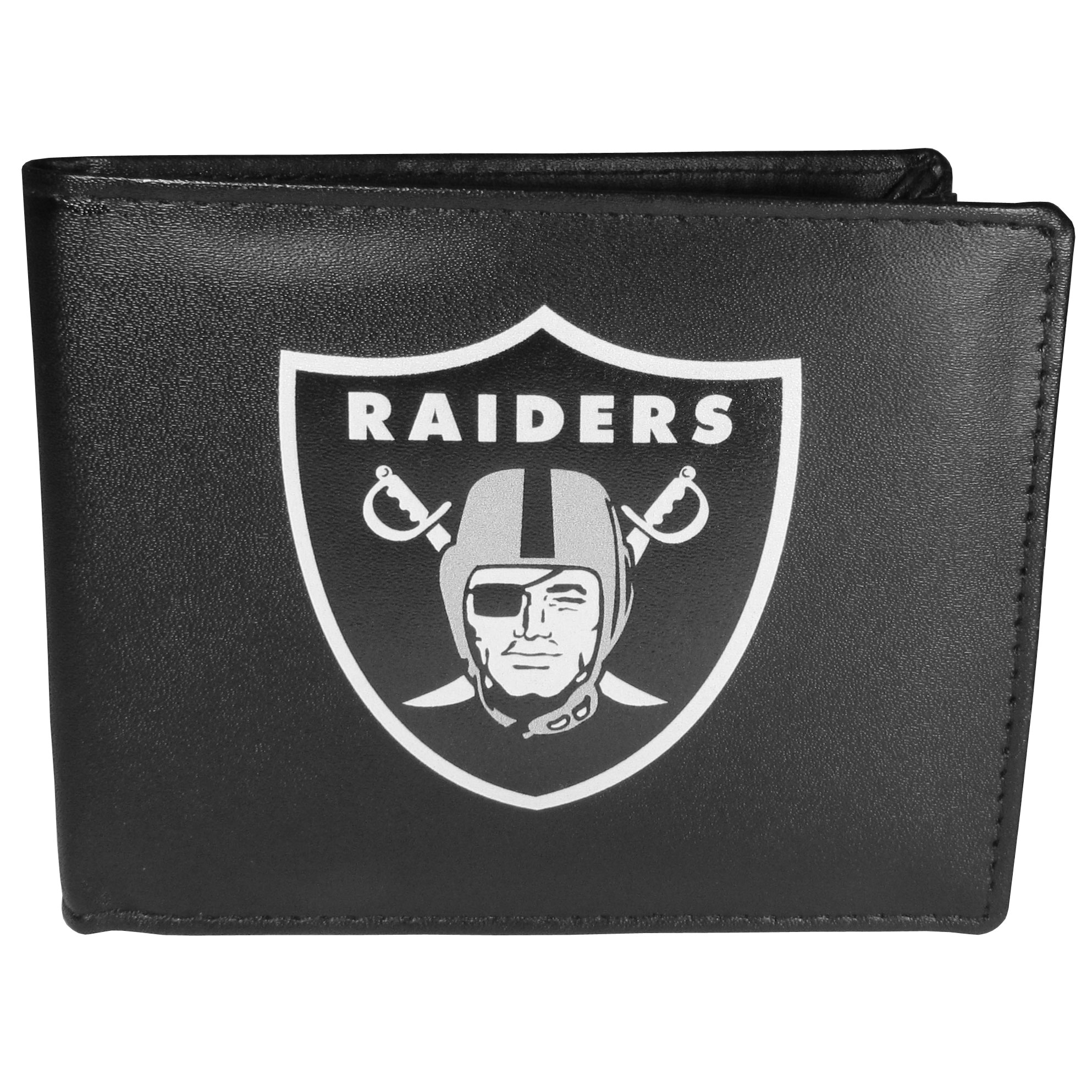 Oakland Raiders Leather Bi-fold Wallet, Large Logo - Our classic fine leather bi-fold wallet is meticulously crafted with genuine leather that will age beautifully so you will have a quality wallet for years to come. The wallet opens to a large, billfold pocket and numerous credit card slots and has a convenient windowed ID slot. The front of the wallet features an extra large Oakland Raiders printed logo.