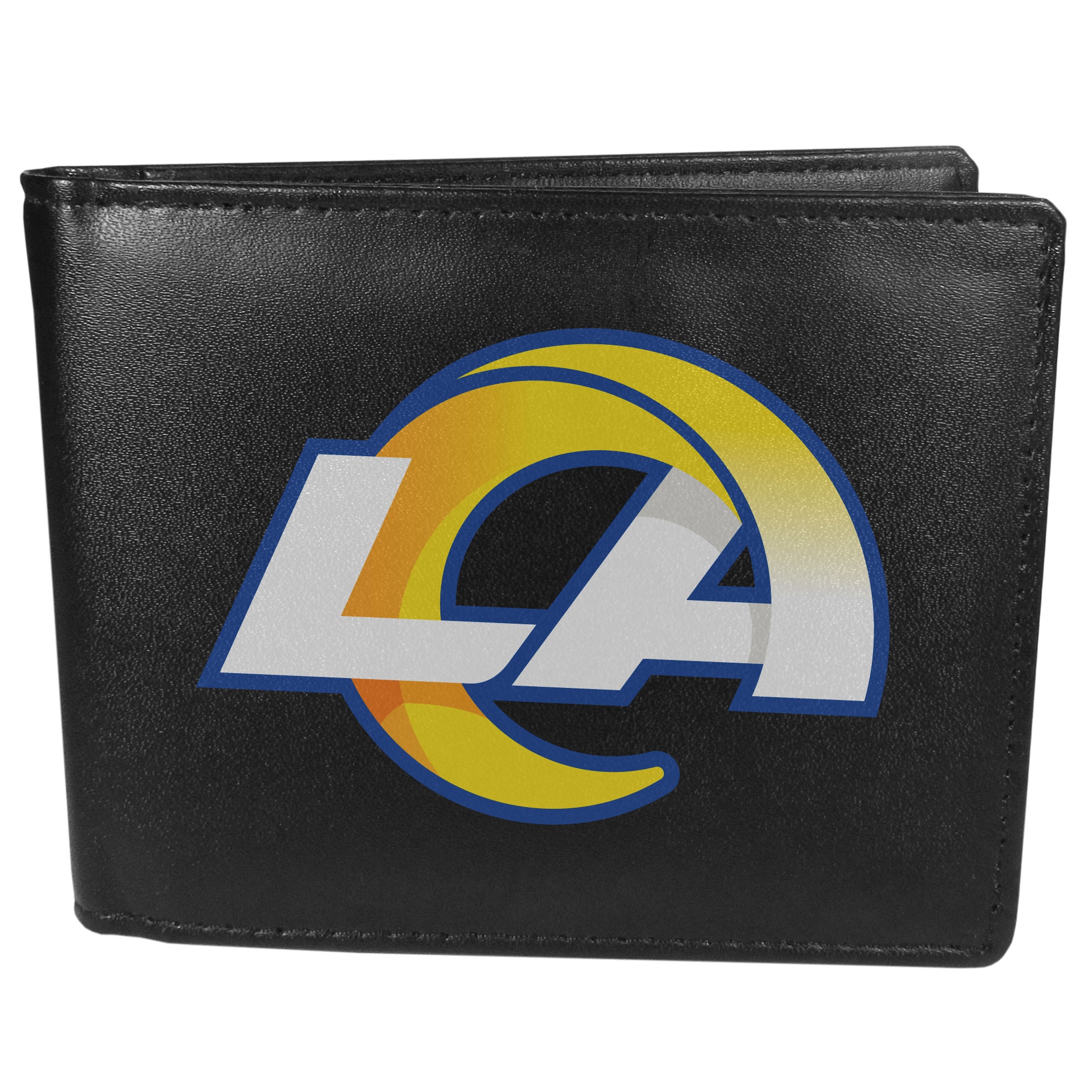 Los Angeles Rams Leather Bi-fold Wallet, Large Logo - Our classic fine leather bi-fold wallet is meticulously crafted with genuine leather that will age beautifully so you will have a quality wallet for years to come. The wallet opens to a large, billfold pocket and numerous credit card slots and has a convenient windowed ID slot. The front of the wallet features an extra large Los Angeles Rams printed logo.