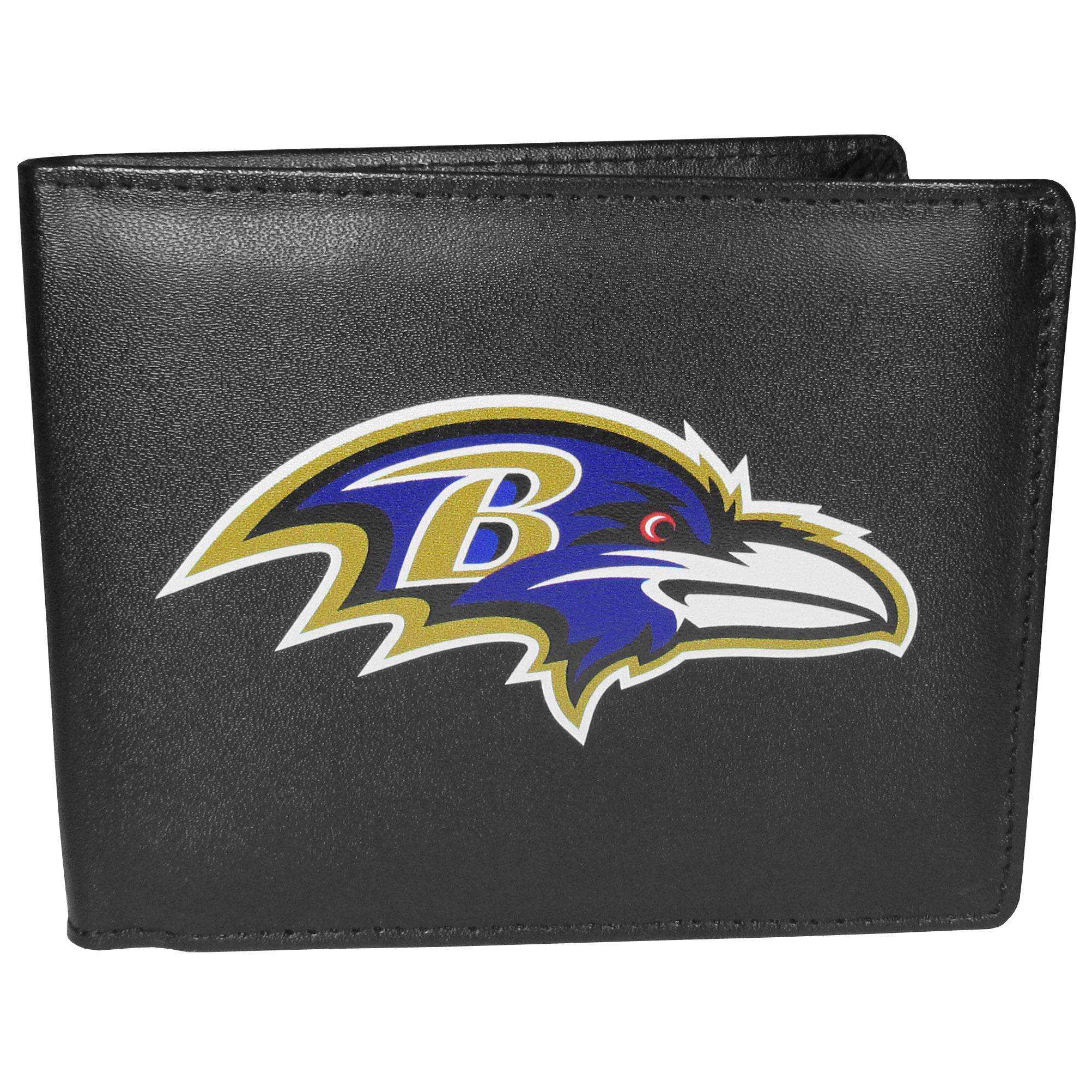 Baltimore Ravens Leather Bi-fold Wallet, Large Logo - Our classic fine leather bi-fold wallet is meticulously crafted with genuine leather that will age beautifully so you will have a quality wallet for years to come. The wallet opens to a large, billfold pocket and numerous credit card slots and has a convenient windowed ID slot. The front of the wallet features an extra large Baltimore Ravens printed logo.