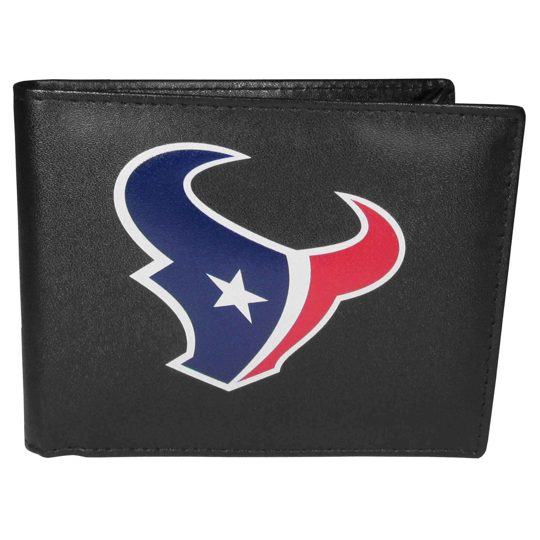 Houston Texans Leather Bi-fold Wallet, Large Logo - Our classic fine leather bi-fold wallet is meticulously crafted with genuine leather that will age beautifully so you will have a quality wallet for years to come. The wallet opens to a large, billfold pocket and numerous credit card slots and has a convenient windowed ID slot. The front of the wallet features an extra large Houston Texans printed logo.
