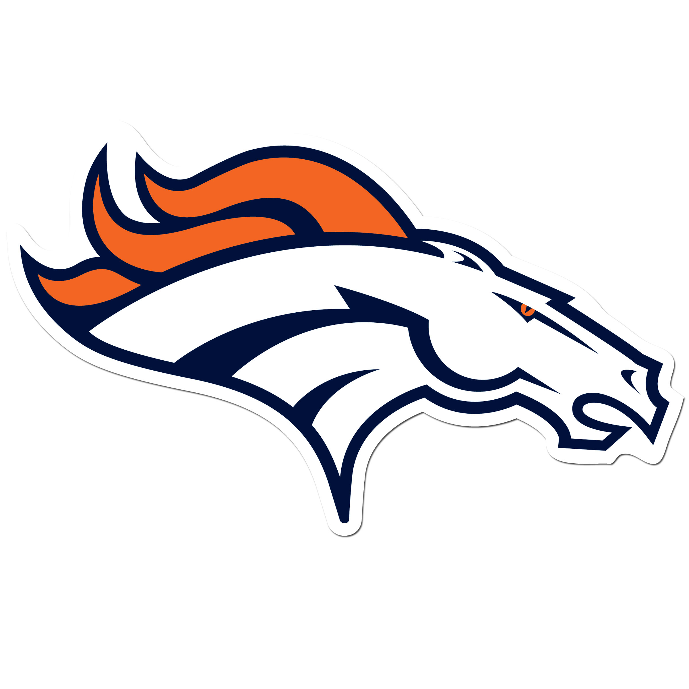 Denver Broncos 8 inch Auto Decal - This bold, 8 inch Denver Broncos is a great way to show off your team pride! The low tack vinyl decal is easily positioned and adjusted to make sure you get that logo in just the right spot on your vehicle. Designed to be used on the outside of the window.