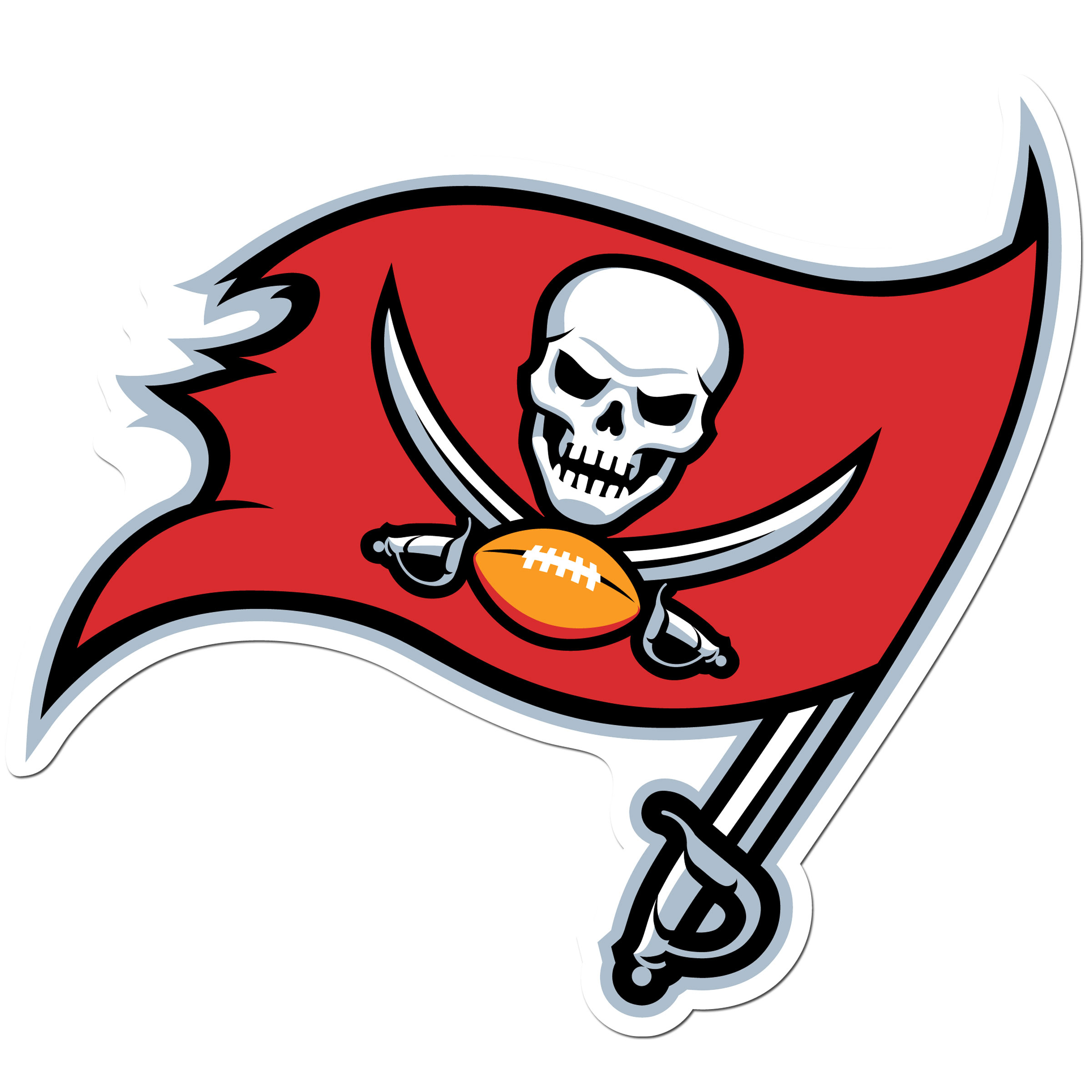 Tampa Bay Buccaneers 8 inch Auto Decal - This bold, 8 inch Tampa Bay Buccaneers is a great way to show off your team pride! The low tack vinyl decal is easily positioned and adjusted to make sure you get that logo in just the right spot on your vehicle. Designed to be used on the outside of the window.