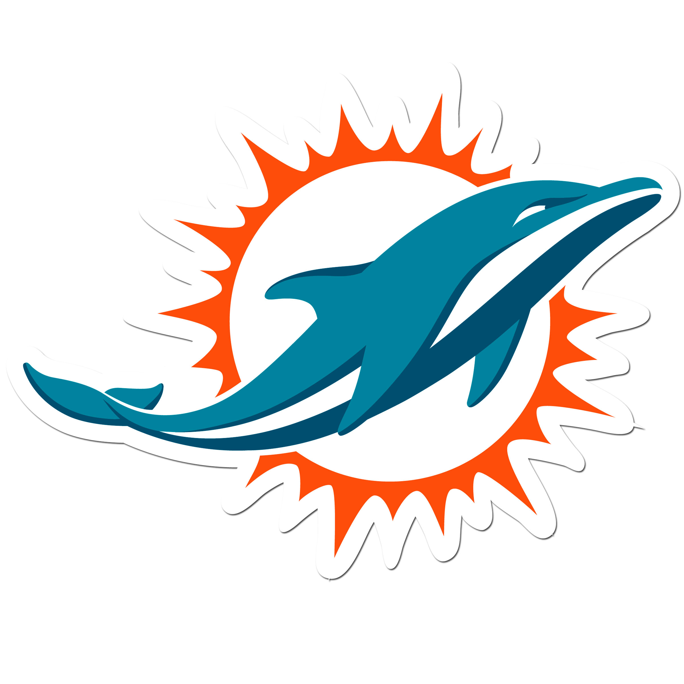 Miami Dolphins 8 inch Auto Decal - This bold, 8 inch Miami Dolphins is a great way to show off your team pride! The low tack vinyl decal is easily positioned and adjusted to make sure you get that logo in just the right spot on your vehicle. Designed to be used on the outside of the window.
