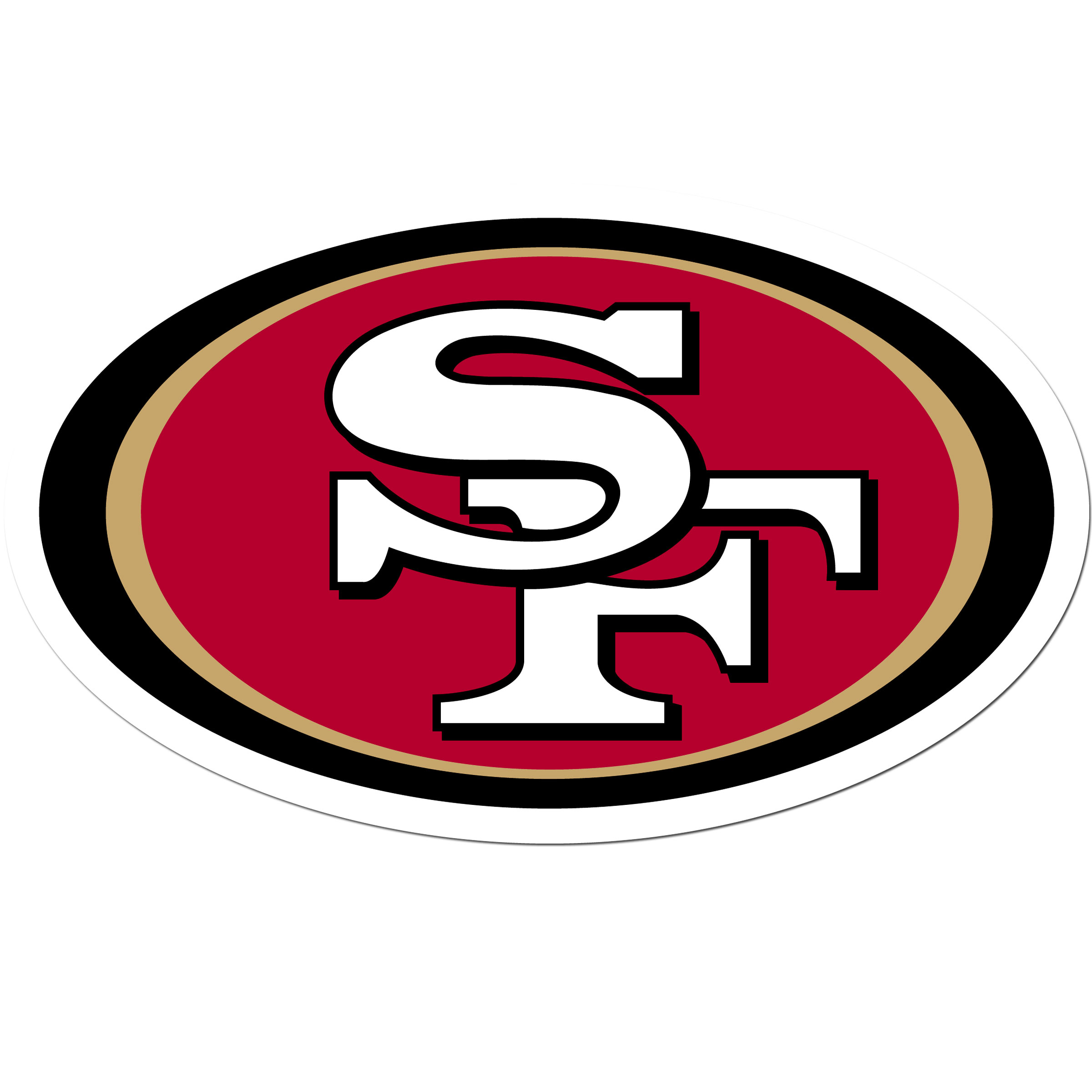 San Francisco 49ers 8 inch Auto Decal - This bold, 8 inch San Francisco 49ers is a great way to show off your team pride! The low tack vinyl decal is easily positioned and adjusted to make sure you get that logo in just the right spot on your vehicle. Designed to be used on the outside of the window.