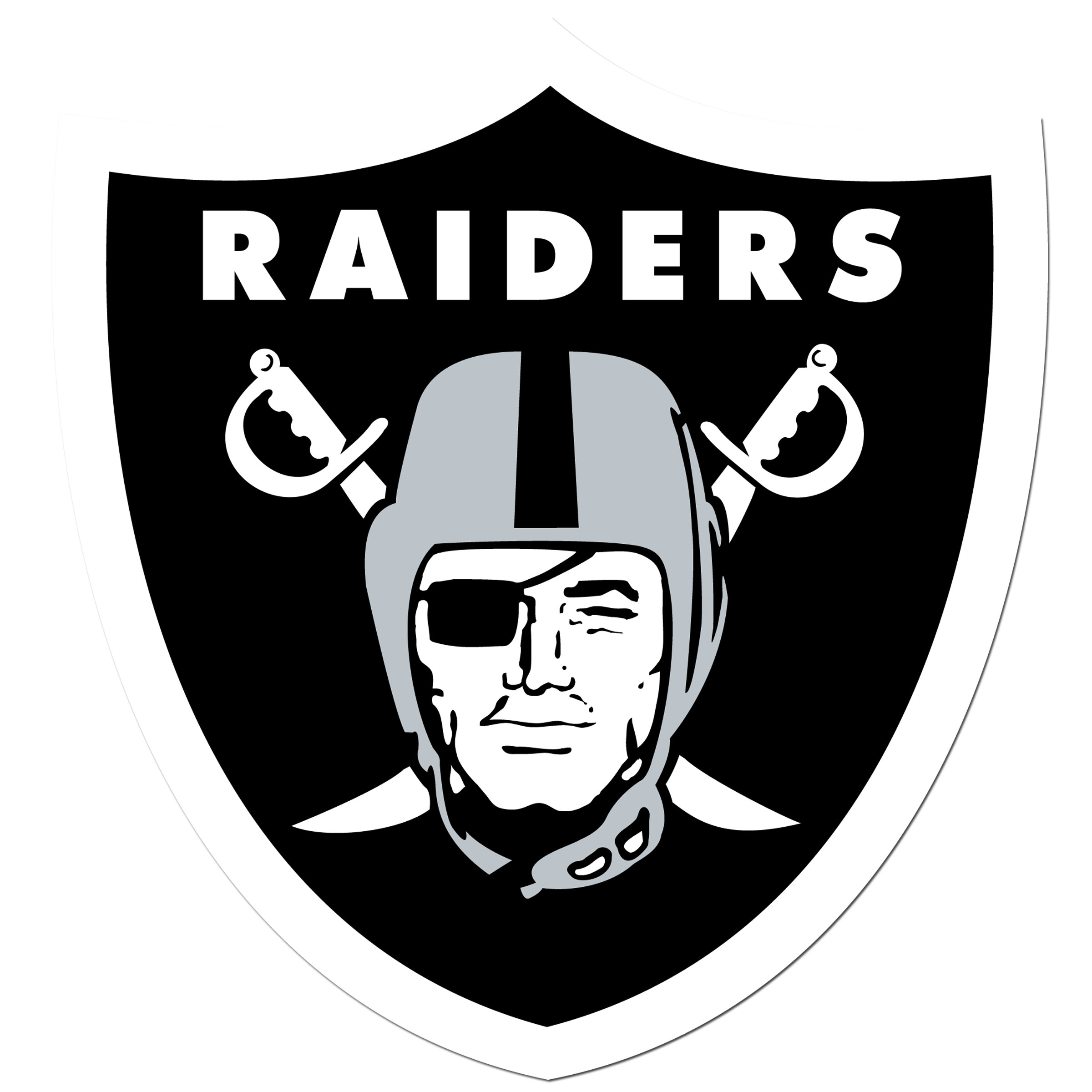 Oakland Raiders 8 inch Auto Decal - This bold, 8 inch Oakland Raiders is a great way to show off your team pride! The low tack vinyl decal is easily positioned and adjusted to make sure you get that logo in just the right spot on your vehicle. Designed to be used on the outside of the window.