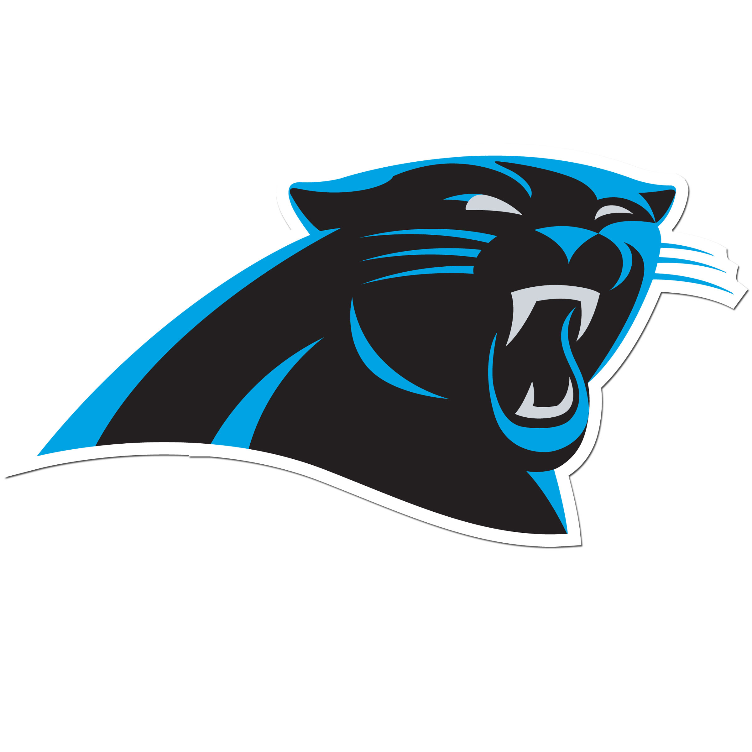 Carolina Panthers 8 inch Auto Decal - This bold, 8 inch Carolina Panthers is a great way to show off your team pride! The low tack vinyl decal is easily positioned and adjusted to make sure you get that logo in just the right spot on your vehicle. Designed to be used on the outside of the window.