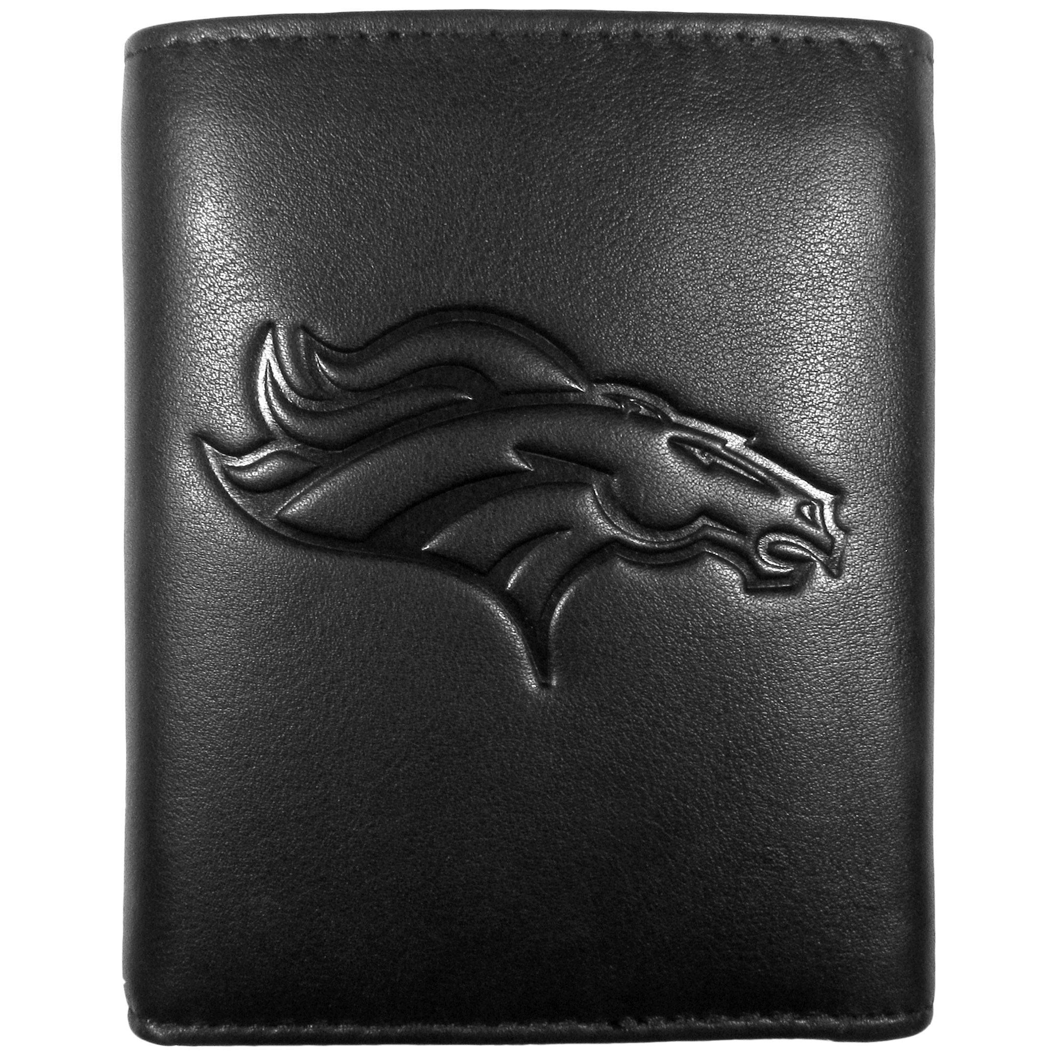Denver Broncos Embossed Leather Tri-fold Wallet - This stylish leather wallet is made of high quality leather with a supple feel and classic look. The front of the tri-fold style wallet has a deeply embossed Denver Broncos logo. The billfold is packed with features that will allow to keep organized, lots of credit card slots, windowed ID slot, large pockets for bills and a removable sleeve with extra slots for even more storage. This is a must-have men's fashion accessory that would make any fan very proud to own.