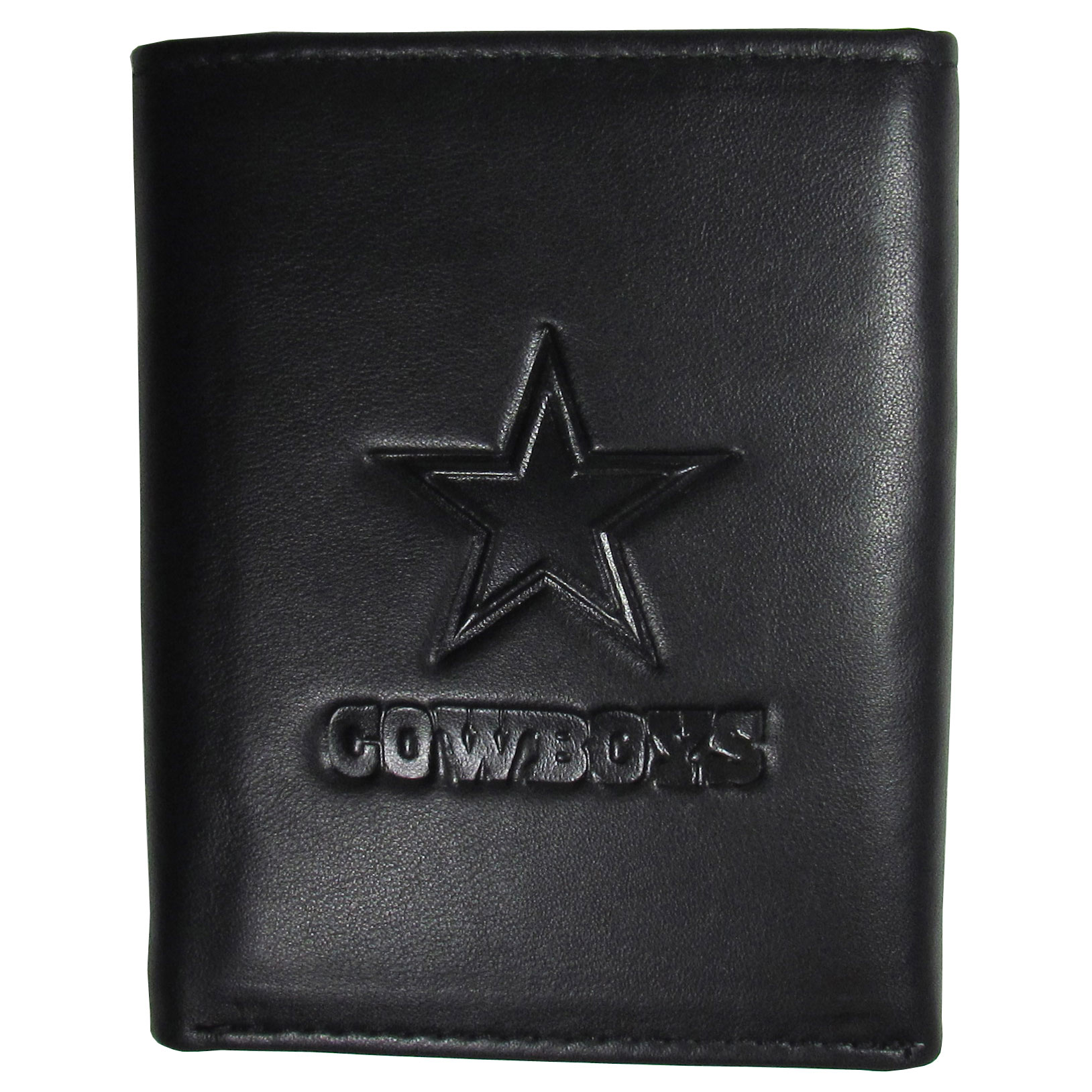 Dallas Cowboys Embossed Leather Tri-fold Wallet - This stylish leather wallet is made of high quality leather with a supple feel and classic look. The front of the tri-fold style wallet has a deeply embossed Dallas Cowboys logo. The billfold is packed with features that will allow to keep organized, lots of credit card slots, windowed ID slot, large pockets for bills and a removable sleeve with extra slots for even more storage. This is a must-have men's fashion accessory that would make any fan very proud to own.