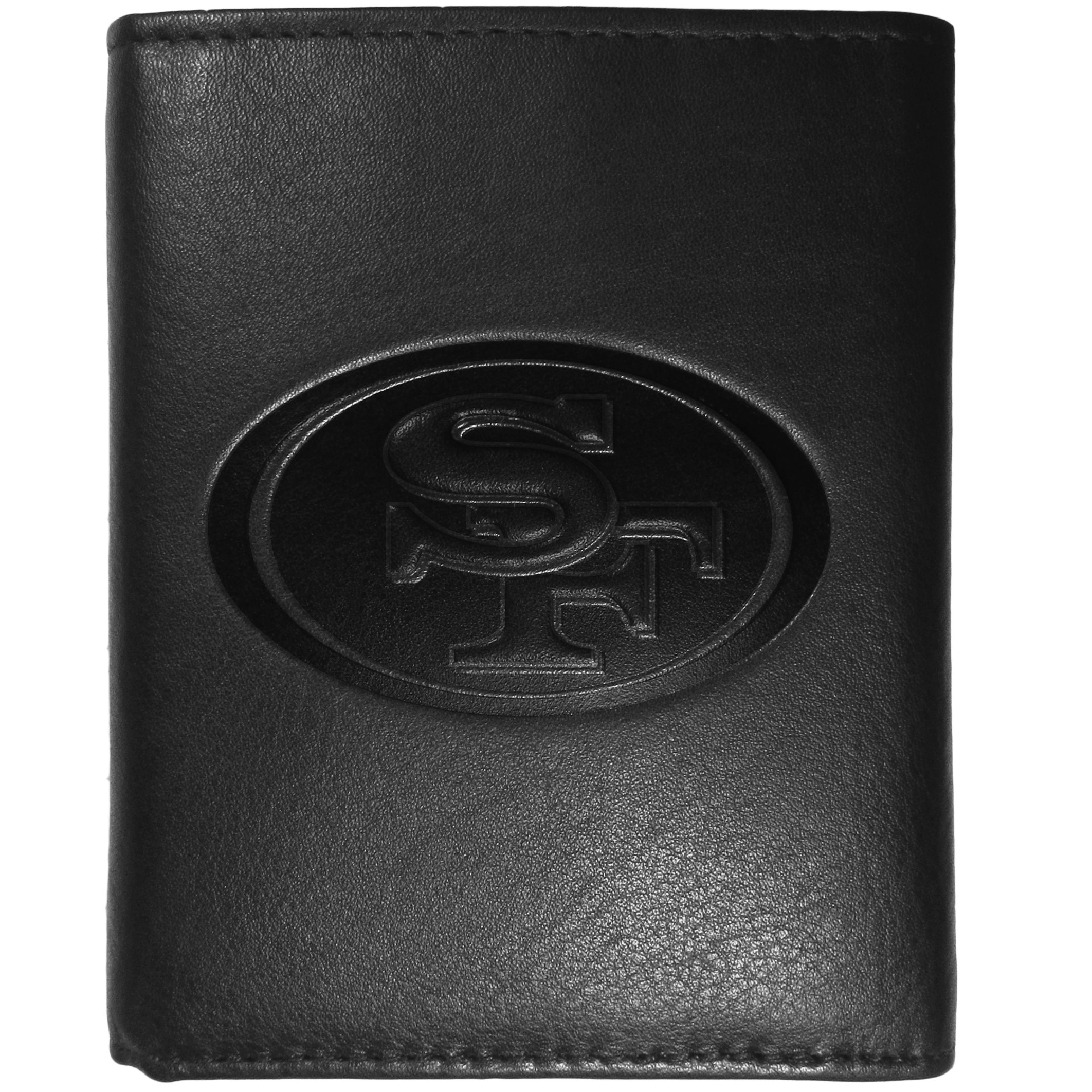 San Francisco 49ers Embossed Leather Tri-fold Wallet - This stylish leather wallet is made of high quality leather with a supple feel and classic look. The front of the tri-fold style wallet has a deeply embossed San Francisco 49ers logo. The billfold is packed with features that will allow to keep organized, lots of credit card slots, windowed ID slot, large pockets for bills and a removable sleeve with extra slots for even more storage. This is a must-have men's fashion accessory that would make any fan very proud to own.