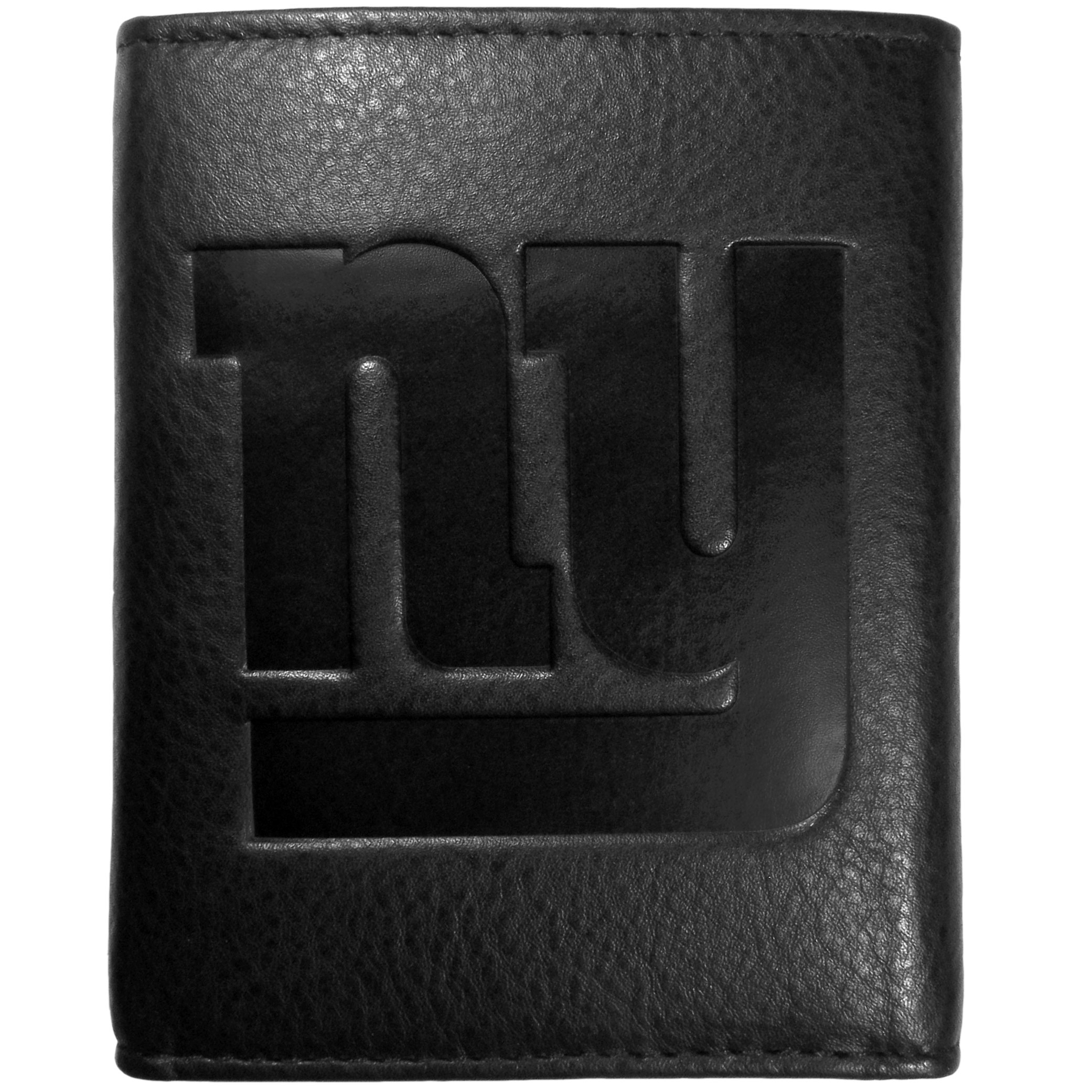 New York Giants Embossed Leather Tri-fold Wallet - This stylish leather wallet is made of high quality leather with a supple feel and classic look. The front of the tri-fold style wallet has a deeply embossed New York Giants logo. The billfold is packed with features that will allow to keep organized, lots of credit card slots, windowed ID slot, large pockets for bills and a removable sleeve with extra slots for even more storage. This is a must-have men's fashion accessory that would make any fan very proud to own.