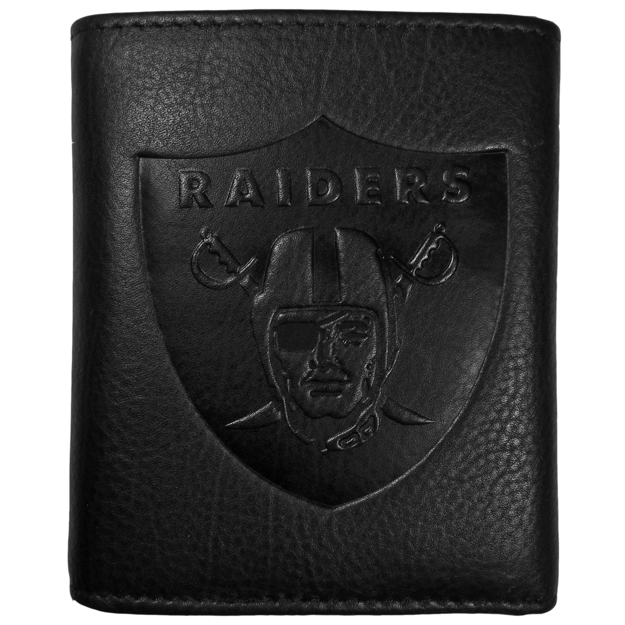 Oakland Raiders Embossed Leather Tri-fold Wallet - This stylish leather wallet is made of high quality leather with a supple feel and classic look. The front of the tri-fold style wallet has a deeply embossed Oakland Raiders logo. The billfold is packed with features that will allow to keep organized, lots of credit card slots, windowed ID slot, large pockets for bills and a removable sleeve with extra slots for even more storage. This is a must-have men's fashion accessory that would make any fan very proud to own.