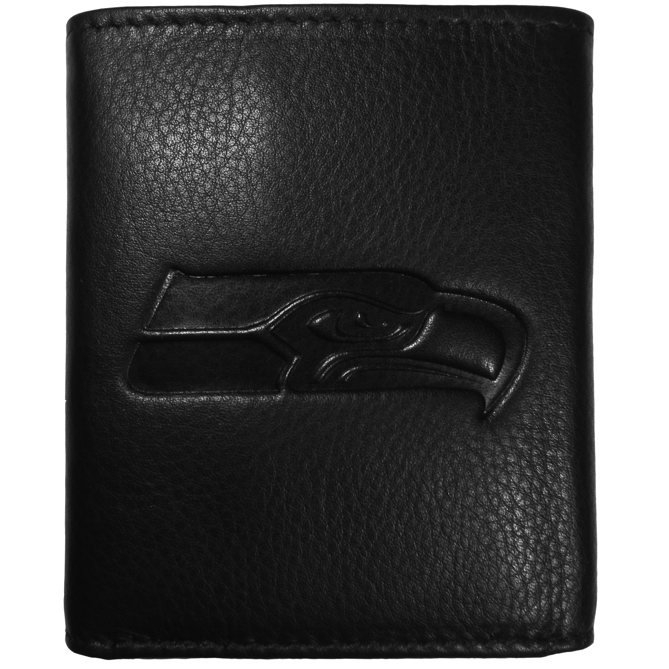 Seattle Seahawks Embossed Leather Tri-fold Wallet - This stylish leather wallet is made of high quality leather with a supple feel and classic look. The front of the tri-fold style wallet has a deeply embossed Seattle Seahawks logo. The billfold is packed with features that will allow to keep organized, lots of credit card slots, windowed ID slot, large pockets for bills and a removable sleeve with extra slots for even more storage. This is a must-have men's fashion accessory that would make any fan very proud to own.