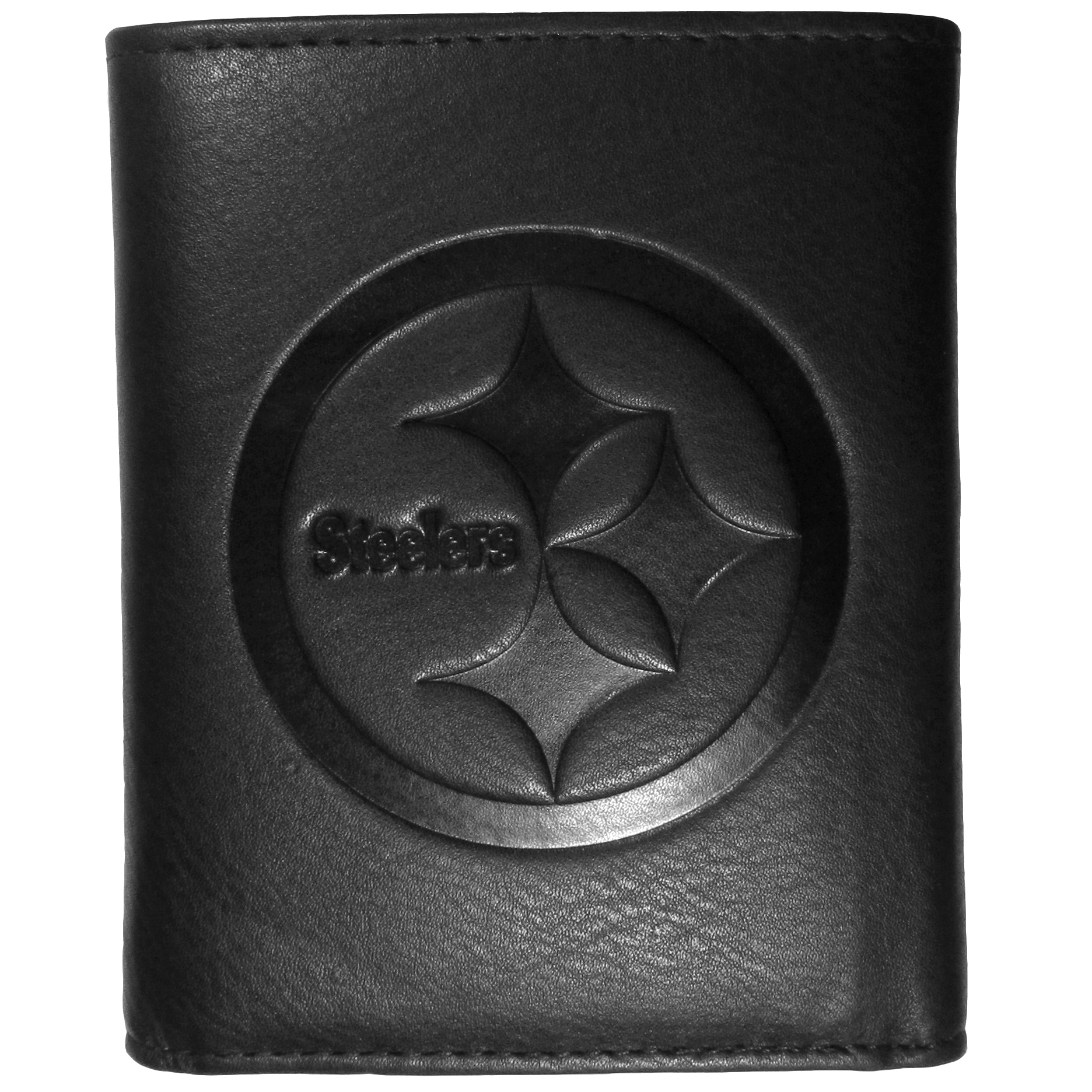 Pittsburgh Steelers Embossed Leather Tri-fold Wallet - This stylish leather wallet is made of high quality leather with a supple feel and classic look. The front of the tri-fold style wallet has a deeply embossed Pittsburgh Steelers logo. The billfold is packed with features that will allow to keep organized, lots of credit card slots, windowed ID slot, large pockets for bills and a removable sleeve with extra slots for even more storage. This is a must-have men's fashion accessory that would make any fan very proud to own.